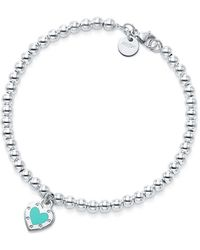 Tiffany & Co. - Return To Tiffanytm Love Heart Bead Bracelet In Silver With Enamel Finish, Small - Lyst