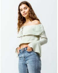 Amuse Society Cafecito Womens Off The Shoulder Crop Top - Green