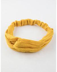 Full Tilt Ribbed Knit Mustard Headwrap - White