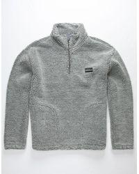 Quiksilver Bogong Gum Popcorn Sherpa Quarter Zip Mens Sweatshirt - Gray