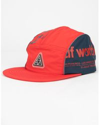 Huf Conceal Pocket Volley Mens Red Strapback Hat