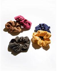 Full Tilt 5 Piece Corduroy Scrunchies - Multicolor