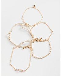 Full Tilt 5 Pack Cross/rhinestone/heart Bracelets - Metallic