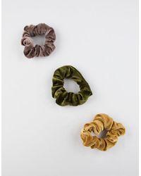 Full Tilt 3 Pack Velvet Scrunchies - Green