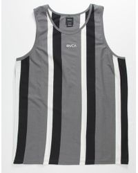 RVCA Surrender Stripe Gray & Black Mens Tank Top