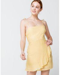 Cotton Candy Textured Yellow Wrap Dress - Black