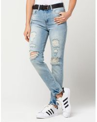 Almost Famous - Premium High Rise Destructed Womens Mom Jean - Lyst