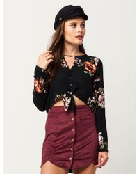 Blu Pepper - Floral Button Front Womens Top - Lyst