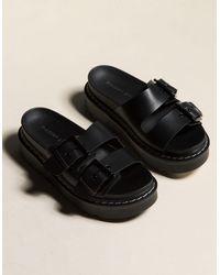 Madden Girl 2 Buckle Flatform Womens Sandals - Black
