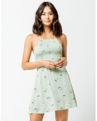 Mimi Chica Floral Smock Square Neck Dress - Green
