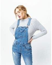 Others Follow Melanie Womens Ripped Denim Overalls - Blue