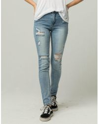 Almost Famous - Premium High Rise Destructed Womens Jeans - Lyst