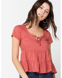 Ivy & Main Solid Tier Womens Rust Babydoll Top - Red