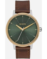 Nixon - Kensington Leather Silver Gold & Agave Watch - Lyst