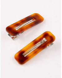 Full Tilt 2 Pack Rectangle Tortoise Hair Clips - Orange