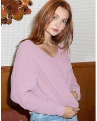 Full Tilt Essentials V-neck Dolman Pink Womens Crop Sweater - Blue