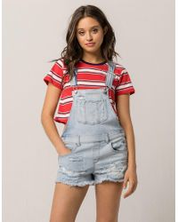 Almost Famous - Premium Ripped Denim Womens Shortalls - Lyst