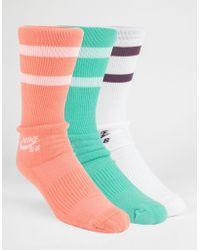 Nike - 3 Pack Dri-fit Mens Crew Socks - Lyst