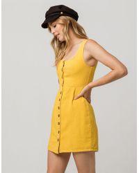 Chloe & Katie - Twill Button Front Mustard Structured Dress - Lyst