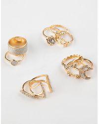 Full Tilt 10 Piece Rhinestone Moon & Leaf Ring Set - Metallic