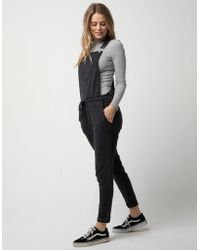 Others Follow French Terry Womens Overalls - Black