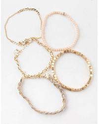 Full Tilt 5 Piece Braid & Chain Bracelet Set - Metallic