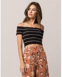 5cdb06fcde153 Tres Bien - Très Bien Stripe Off The Shoulder Black Womens Crop Top - Lyst