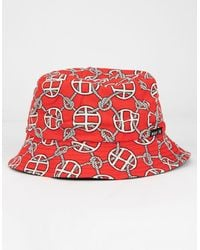 Huf Atelier Mens Red Bucket Hat