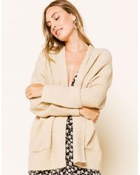 WEST OF MELROSE Up For Knit Womens Boyfriend Cardigan - Natural
