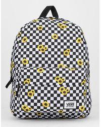 Vans Realm Sunflower Checkerboard Backpack - Black