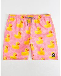 Neff - Ducky Mens Hot Tub Hot Pink Volley Shorts - Lyst