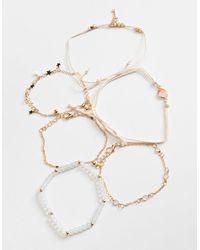 Full Tilt 6 Pack Star/key Bracelets - Metallic