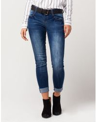 Almost Famous - Premium Ankle Cuff Womens Skinny Jeans - Lyst