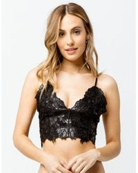 Say What? ? Lace Embroidered Black Bralette - Pink