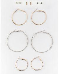 Full Tilt 6 Pairs Stud And Hoop Earrings - Metallic