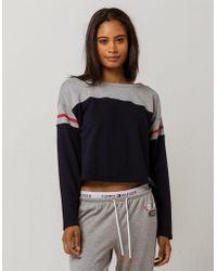 99bf1da24e19 Tommy Hilfiger - Color Block Navy Womens Crop Sweatshirt - Lyst