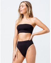bf8585d939 Billabong - Sol Searcher Rise High Waisted Super Cheeky Black Bikini Bottoms  - Lyst
