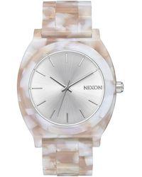 Nixon Time Teller Acetate Pink & Silver Watch
