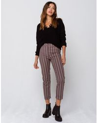 Ivy & Main Stripe Roll Cuff Womens Pants - Gray