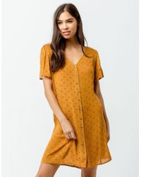 Patrons Of Peace - Button Front Mustard Dress - Lyst