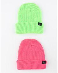 Blue Crown 2 Pack Neon Green & Pink Mens Beanies
