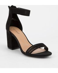 Bamboo - Ankle Strap Black Womens Heeled Sandal - Lyst