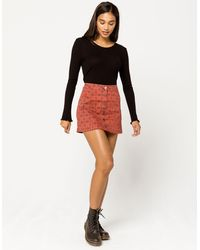 Sky and Sparrow Button Front Plaid Mini Skirt - Multicolor