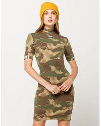 adidas Allover Camo Print T-shirt Dress - Green