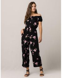 Mimi Chica - Floral Off Shoulder Womens Jumpsuit - Lyst