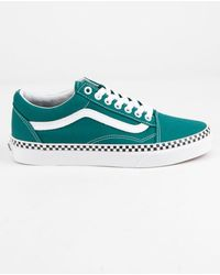 25239abcec Vans - Check Foxing Old Skool Quetzal Green   True White Womens Shoes - Lyst