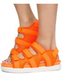 Bamboo Women's Kiki-26 3 Velcro Strap Sport Sandals - Orange