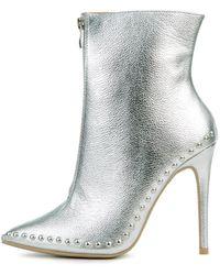 Legend Giselle Silver Heeled Booties - Metallic