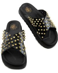 Liliana Airy-1 Spiked Upper Sandals - Black