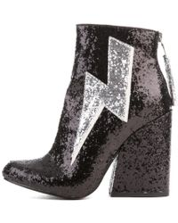 YRU Ziggy Black Glitter Heeled Booties